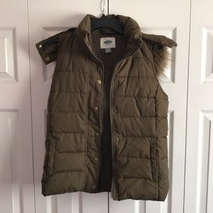 Olive Green Old Navy Vest With Hood